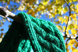 wearable fiber art cable knit headband