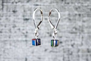 Black pixel earrings, computer video game inspired jewelry by PurlsAndPixels