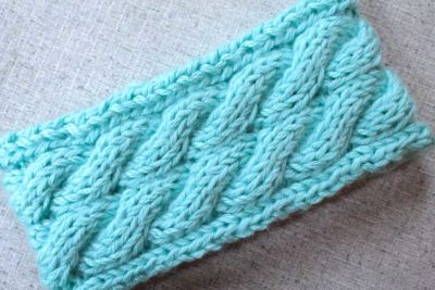 aqua cable knit ear warmer