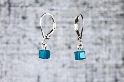 Aqua pixel earrings by PurlsAndPixels