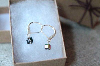 Little black pixels, square cube dangle earrings in a gift box