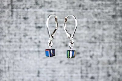 Black pixel earrings, handmade wearable pixel art by PurlsAndPixels