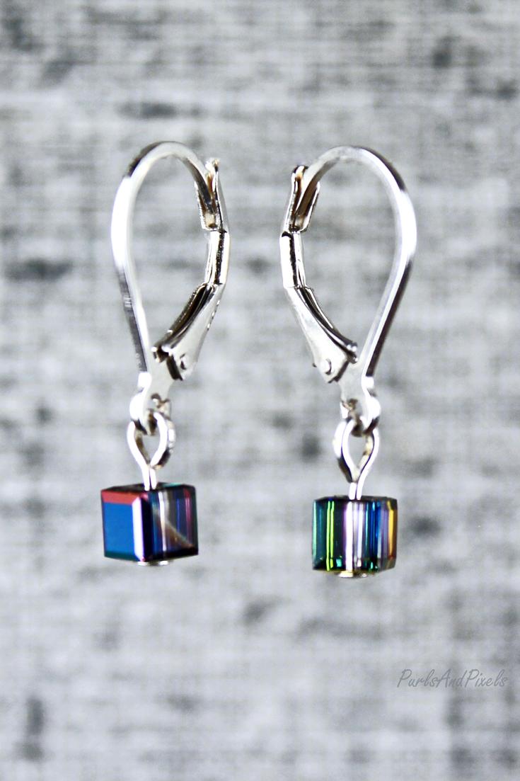 Little pixel earrings, 8 bit gamer girl earrings, jewelry gift idea from PurlsAndPixels