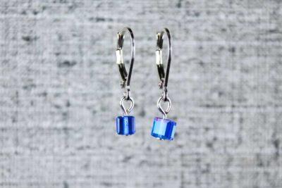 Blue pixel earrings by PurlsAndPixels