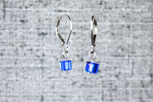 Royal blue pixel earrings, computer video game inspired jewelry by PurlsAndPixels