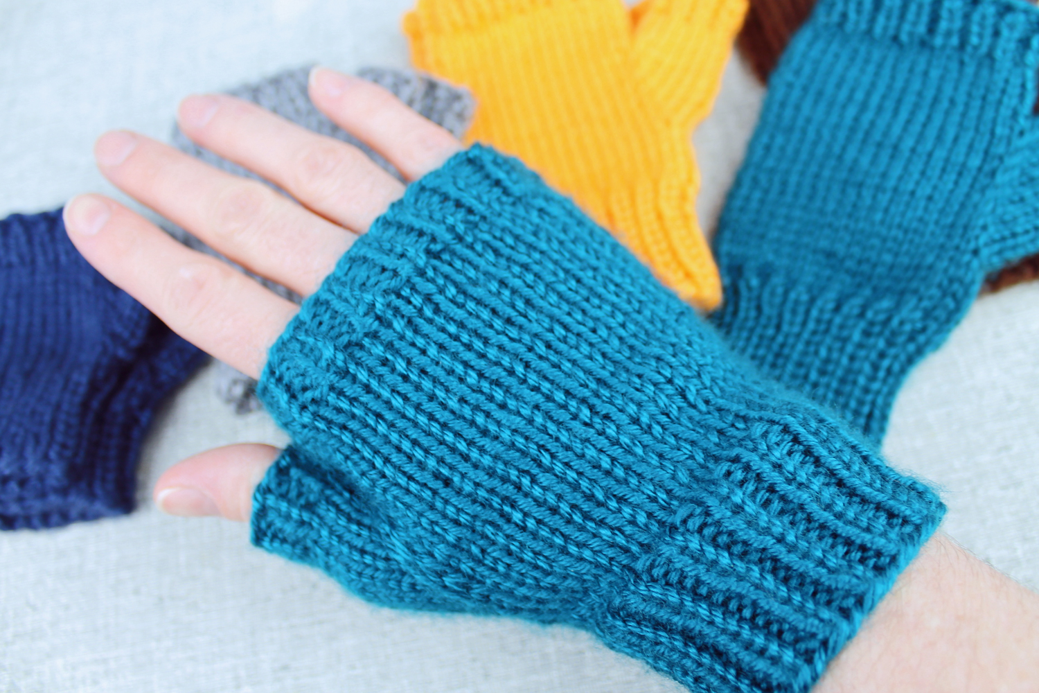 basic fingerless gloves a knitting pattern designed by