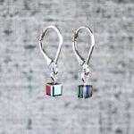 Little black pixel earrings, handmade cube drop earrings by PurlsAndPixels