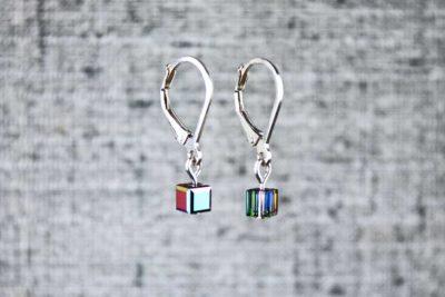 Black pixel earrings, handmade wearable pixel jewelry by PurlsAndPixels