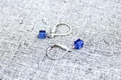 Blue pixel earrings by PurlsAndPixels