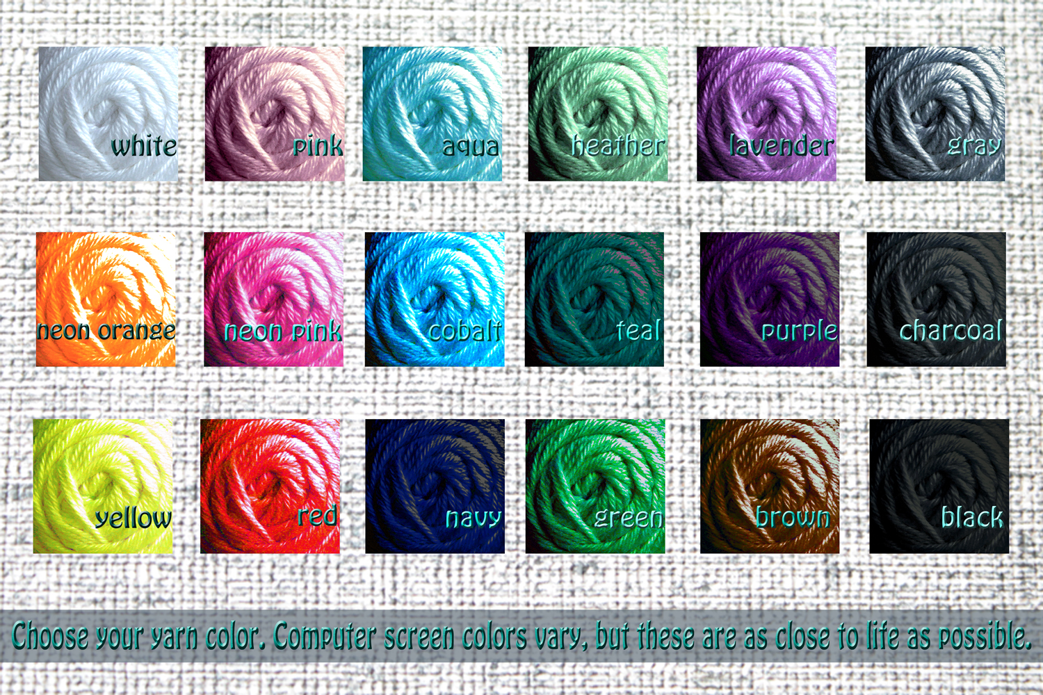 Yarn color choice for handmade custom orders from PurlsAndPixels
