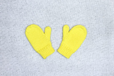 Simple hand knit mittens in all sizes, shown in Toddler Yellow by Liz @PurlsAndPixels