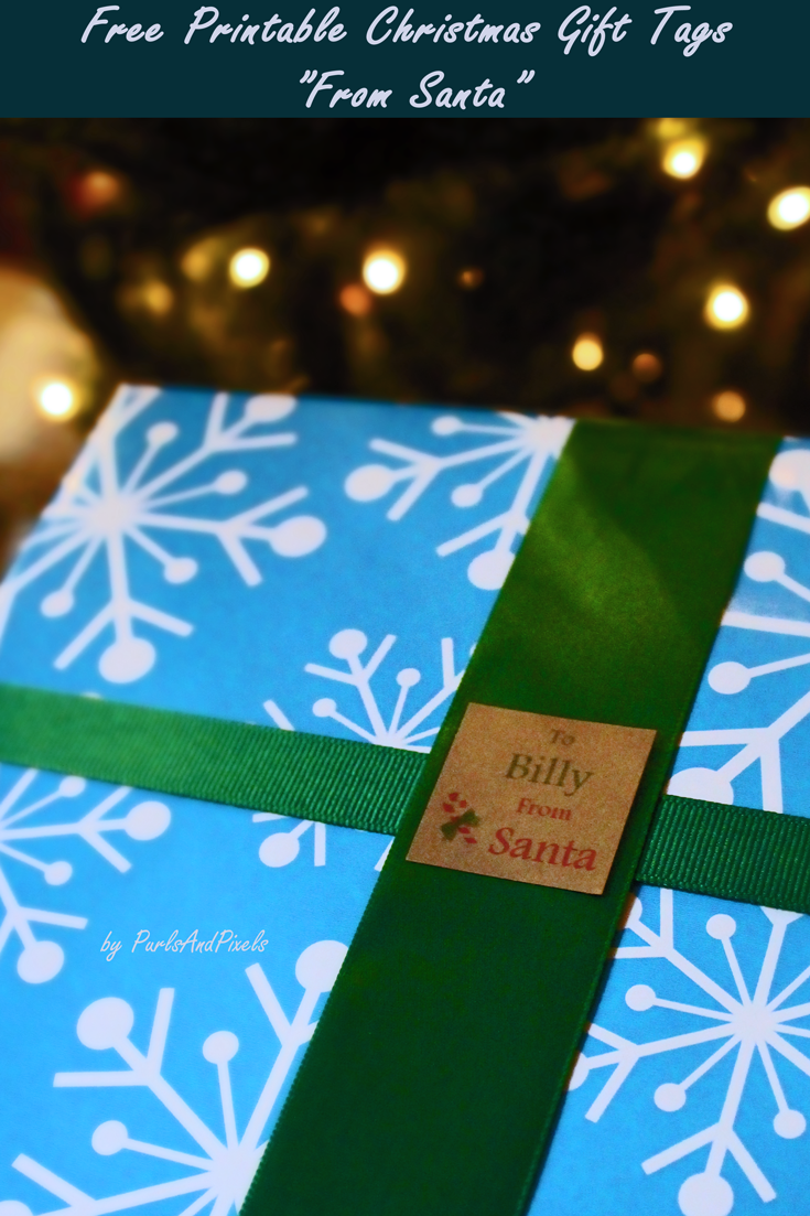 "Free printable ""from Santa"" gift tags for Christmas from Liz @PurlsAndPixels"