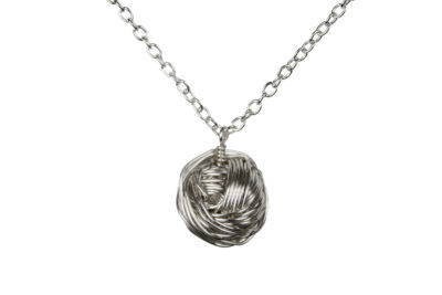 Silver ball of yarn necklace, handmade gift by Liz @PurlsAndPixels
