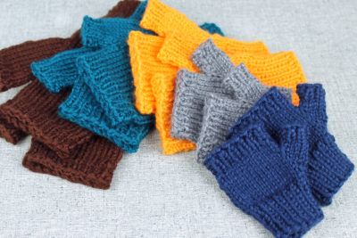 Simple hand knit fingerless mittens for all sizes from PurlsAndPixels