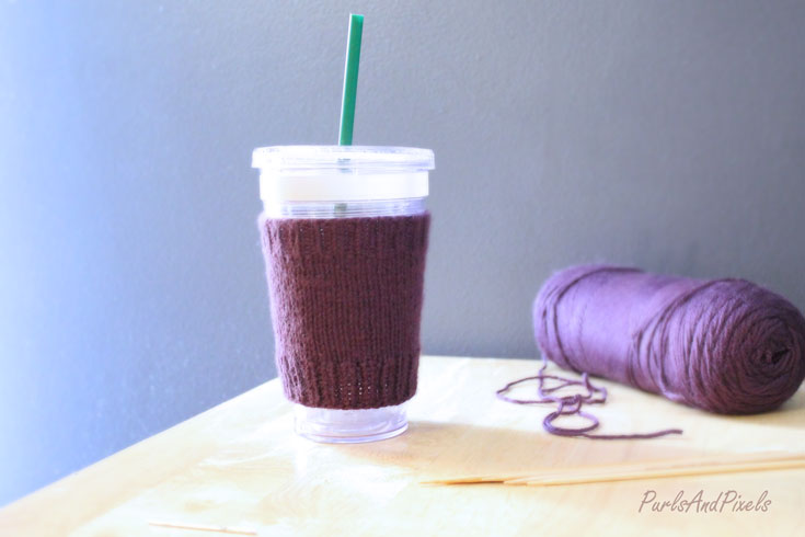 Simple Coffee Cozy Easy Free Knitting Pattern