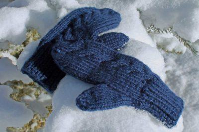Subtle Cable Knit Mittens, gloves designed by Liz Chandler @PurlsAndPixels