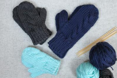 Subtle Cable Knit Mittens, kids sizes, designed by Liz Chandler @PurlsAndPixels