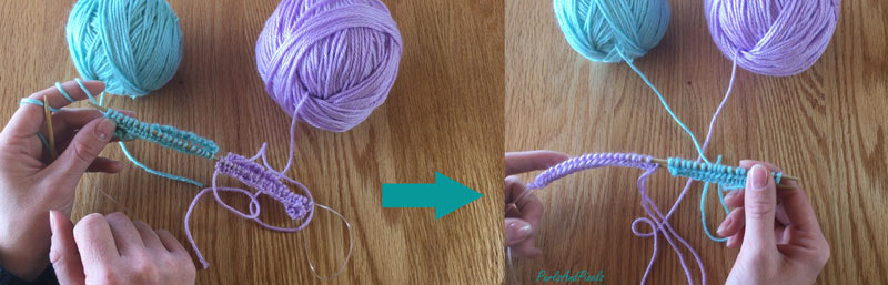 Knitting two at once tutorial: Turn knitting work