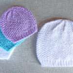 Seed stitch textured beanie hat knitting pattern in preemie baby to adult XL sizes from Liz @PurlsAndPixels