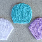 Perfect handmade baby hats, seed stitch textured beanie hat knitting pattern from Liz @PurlsAndPixels
